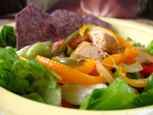Rainbow Chicken Fajita Salad with Jalapeño-Scented Sour Cream