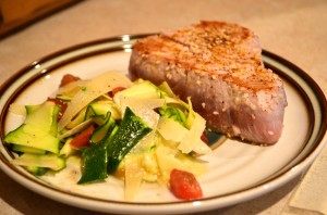 Seared Sesame Ahi Tuna with Zucchini Salad