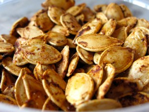 Spicy-Sweet Roasted Squash Seeds